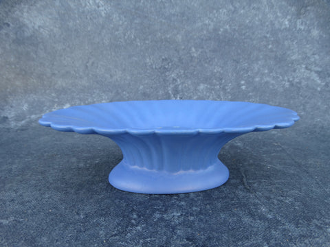 Catalina Island Matte Blue Shallow Pedestal Flower Bowl with Matching Frog