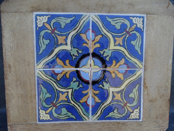 4 Catalina Island Geometric Tiles set in a Wooden Surround