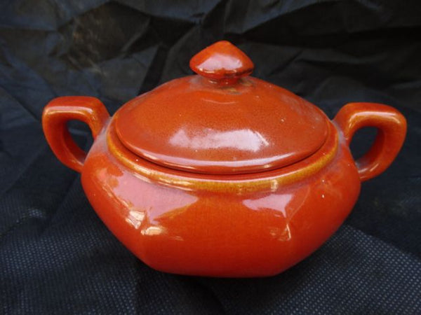 Catalina Double Handle Toyon Red Sugar Bowl with Lid