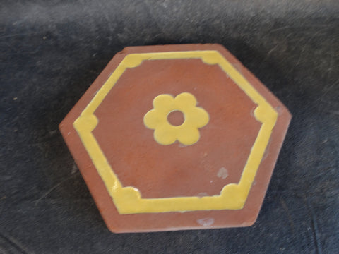 Catalina Island Red Clay Hexagonal Tile Picked out in Yellow Glaze
