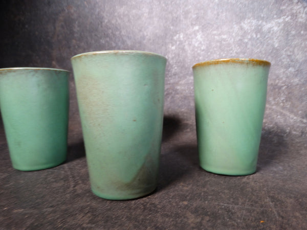Catalina Island Pottery Red Clay Set of 4 Descanso Green Tumblers C501