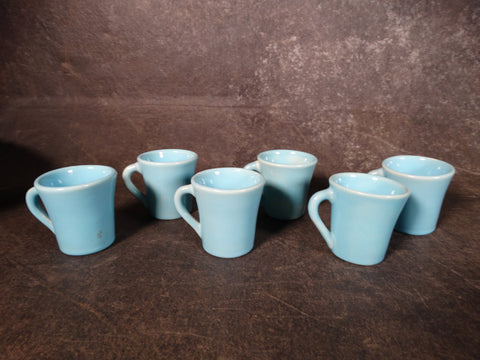 Catalina Island Pottery Set of 6 Demi-tasse Cups in Turquoise over White Clay C507