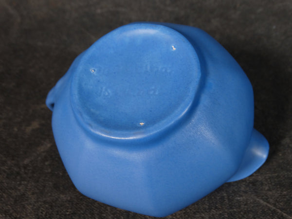 Catalina Island Matte Blue on White Clay Hexagonal Creamer C511