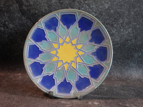 Catalina Moorish Plate in Sea Foam Green, Cobalt & Yellow C525