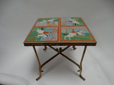 D & M Tile Table Fox Hunter theme 1930s