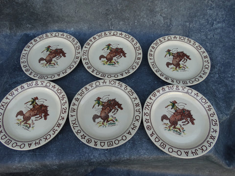 "Till Goodan Wallace China Westward Ho! Rodeo Pattern set of 6 10 1/2"" plates"