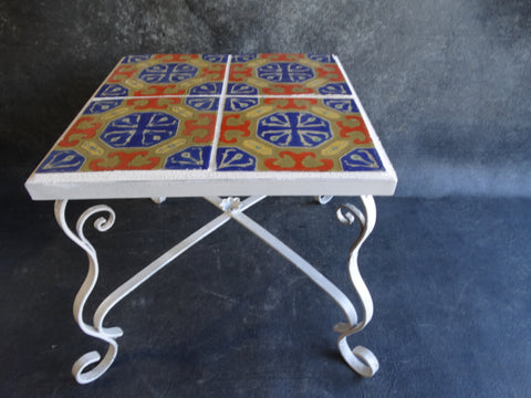 D & M Tile-top Table Wrought Iron Base c 1927 CA2099