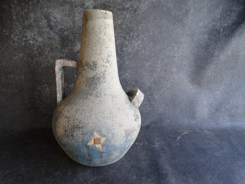 Hillside Cement Pottery Assymetrical Double-Handled Stove-Pipe Urn with Pinwheel Tile Motif circa 1937 CA2105