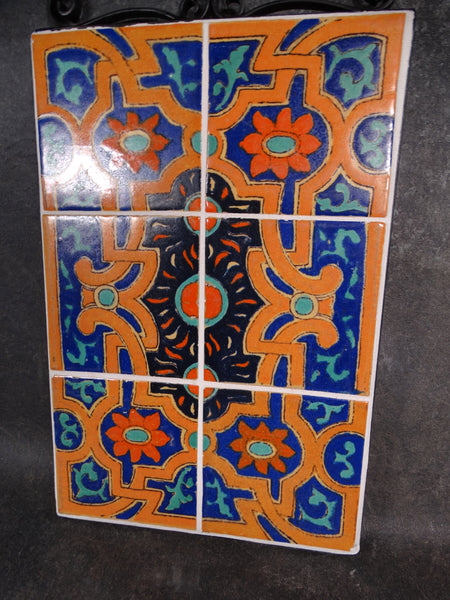Hispano-Moresque  6-tile Plaque in Wrought Iron Surround CA2114