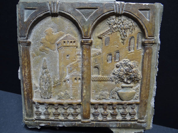 "Claycraft Set of Two ""Italian Terrace"" Scene Relief Tiles from a Fireplace Surround"
