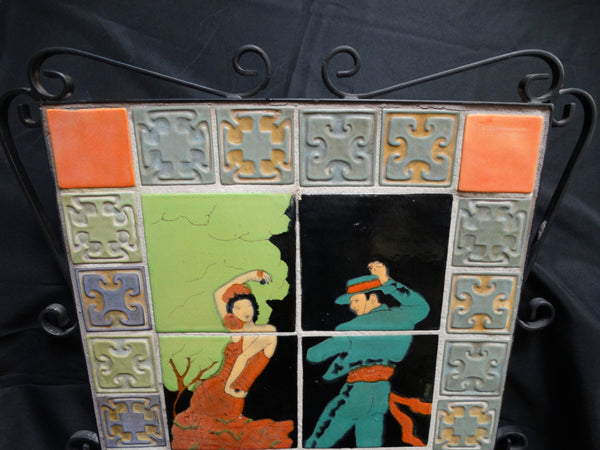 Taylor Tile Spanish Dancer Tile Plaque with Batchelder Surround