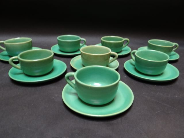 San Jose Pottery Set of Eight Cups & Saucers