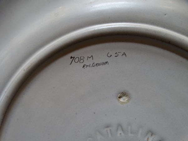 F M Graham signed Catalina Marketplace Scene Plate