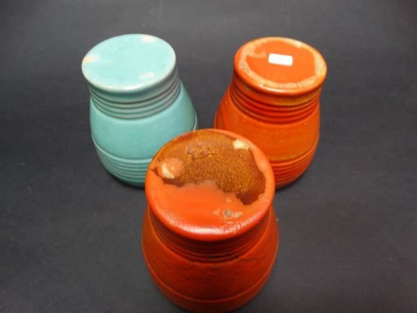 Pacific Pottery Tumblers (Early) in Apache Red and Sea Foam Mint