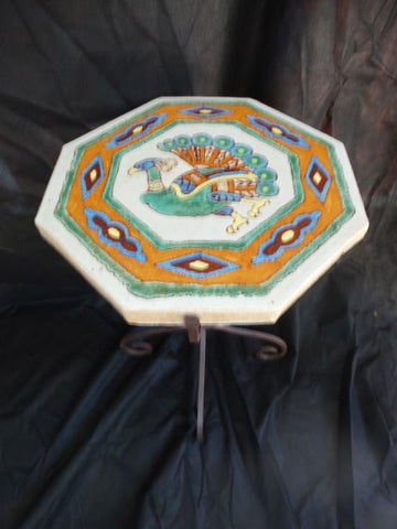 Spanish Pottery And Tile End Table With Rare Peacock