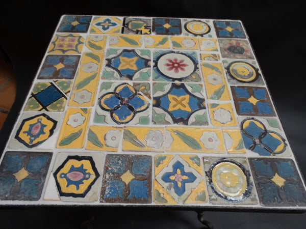 Malibu Vintage Speciment Tile Square Table in Monterey Base.