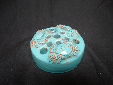 California Faience Arts and Crafts Pottery Flower Frog