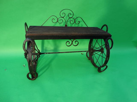 Wrought Iron and Wood Wheels and Horseshoes Folk Art Bench