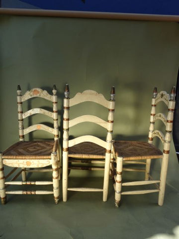 Set of 6 Painted Mexican Chairs