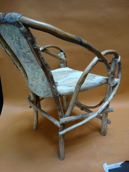 Mexican Cowhide and Rustic Bentwood Chair