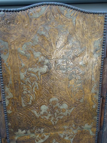Spanish Revival Hand-Embossed Leather Screen