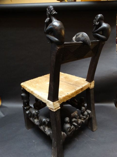 "Figurative African Chair late 19th-Early 20th Century ""Old Man and Youth"""