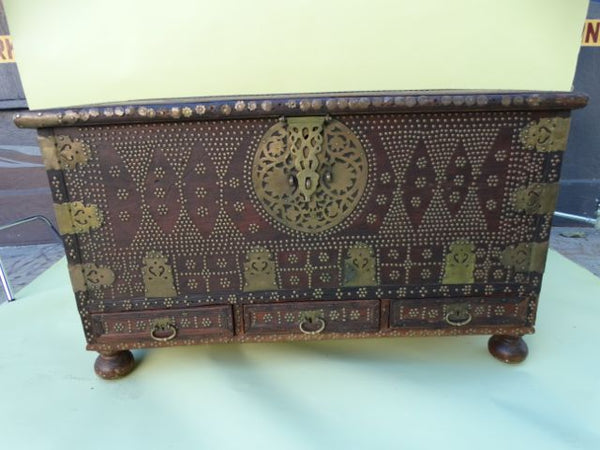 Moorish Teak & Brass Studded 19th Century Trunk
