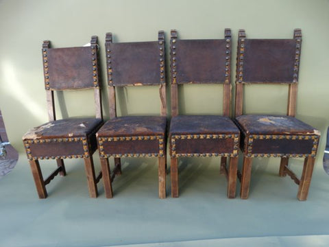Spanish Colonial Mexican Colonial Santa Barbara Mission Chairs, set of 4