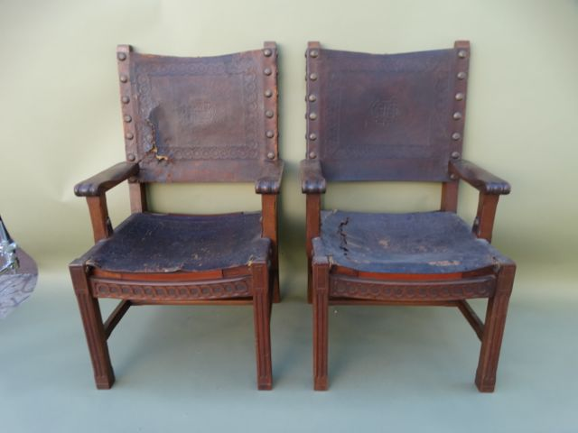 George Hunt-attributed Spanish Colonial Walnut High Back Leather Arm Chairs