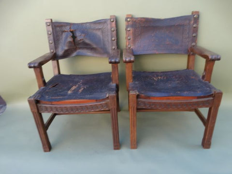 Spanish Colonial George Hunt-attributed Low Back Leather Arm Chairs