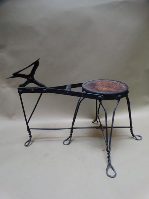 Wrought Iron and Wood Cobbler/Shoeshine Bench