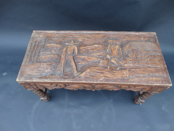 Mexican Carved Bench/Side Table