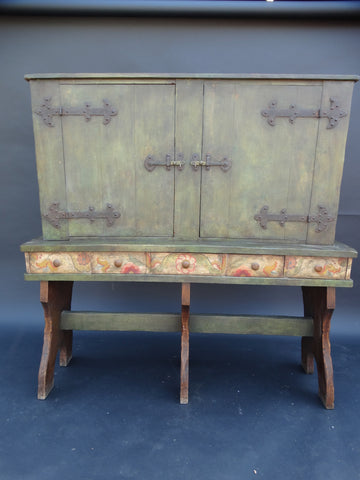 Monterey Rancho Spanish Style Hutch on Stand Crackle Finish with Flowers original Patina F1468