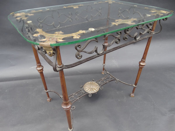 Spanish Colonial Wrought Iron, Bronze and Brass Side Table By Ed Trinkkeller