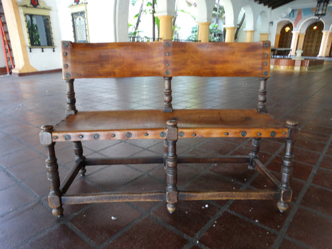 Spanish Revival Marshall Laird Wood & Leather Bench