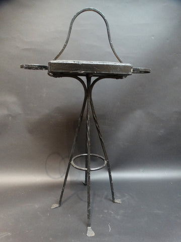 Tudor Tile Wrought Iron Drink Stand with Carrying Handle c 1927