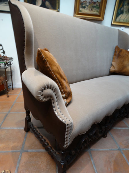 Spanish Revival High Back Sofa with Carved Skirt, Solid Walnut