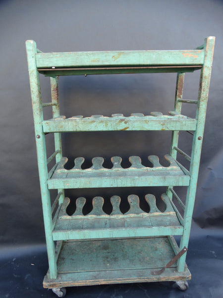 Green Painted Wooden Industrial Rack on Wheels
