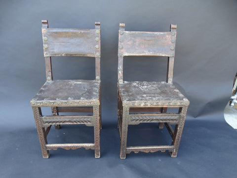 Spanish Colonial 18th Century Pair of Chairs