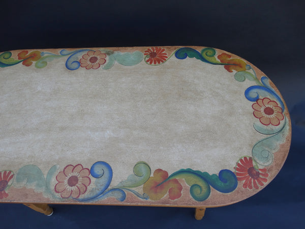 Monterey Rancho Crackle & Floral Decorated Library Table