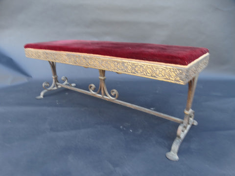 Spanish Revival Wrought Iron and Bronze Low Entry Bench 1920s