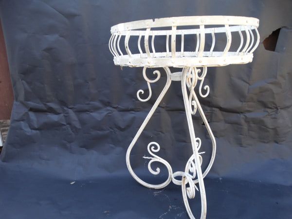Spanish Revival Painted Wrought Iron Garden Pot Stand c1936