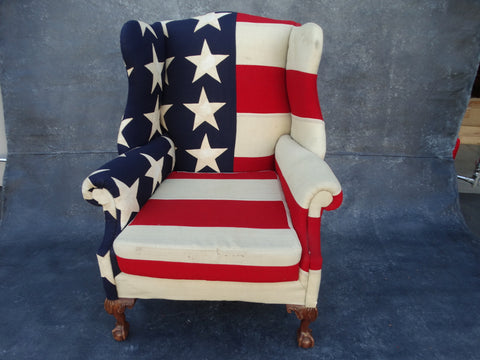 Betsey Ross Flag Wing Chair c 1920s