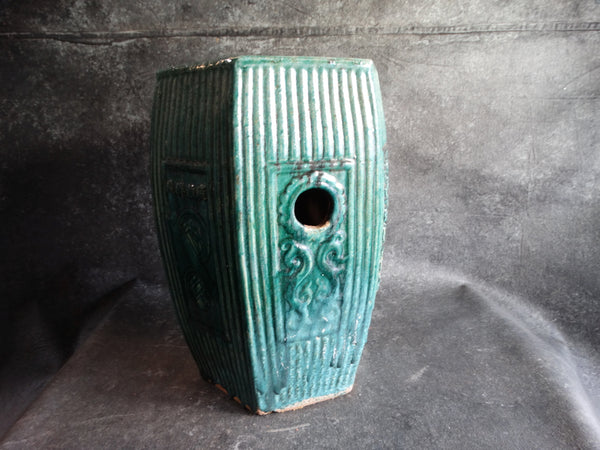 Chinese Lustrous Green Glazed Pottery Stool 19th Century