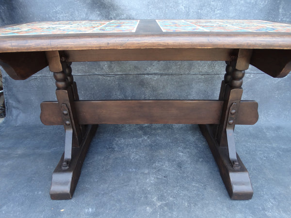 Monterey Old Wood 32 Tile Top Trestle Table F2181