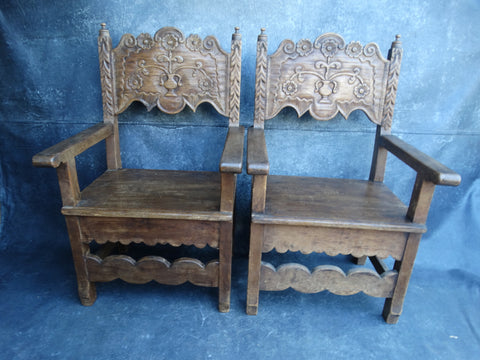 Pair of George Hunt Mexican Colonial Chairs F2189
