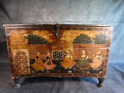Painted Mughal Indian Footed Chest circa 19th Century F2201