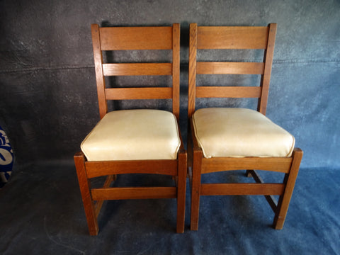 L & JG Stickley Dining Chairs - Pair - circa 1910 F2203