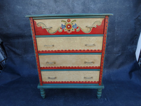 Painted Monterey Highboy Dresser Floral Decoration c1935 Very Rare F2212