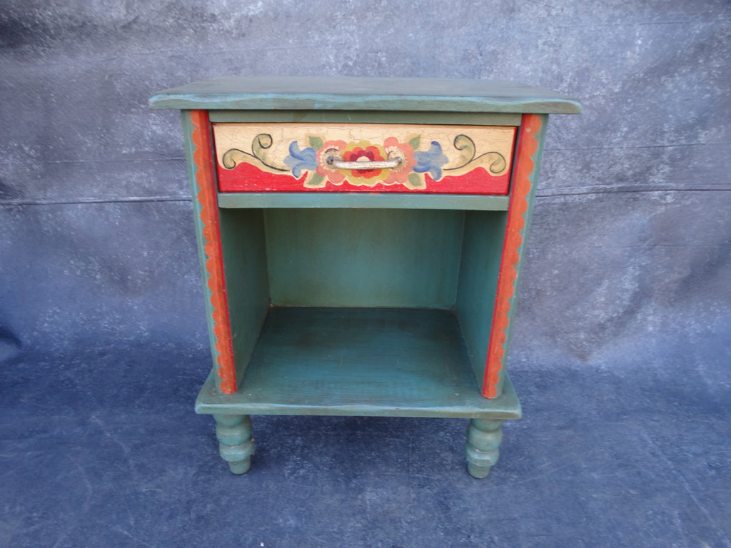 Painted Monterey Nightstand Floral Decoration Very Rare c 1935 F2213